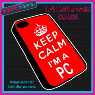 FITS IPHONE 4 / 4S PHONE KEEP CALM IM A PC POLICE PLASTIC COVER RED